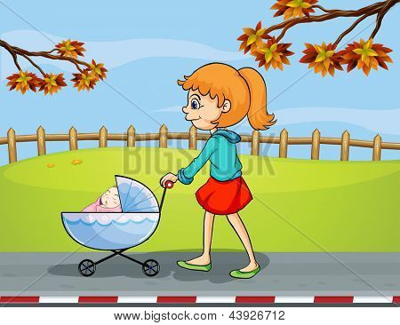 Illustration of a girl pushing a stroller with a sleeping baby