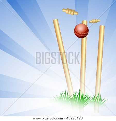 Shiny cricket ball on wicket stumps, Sports background. poster
