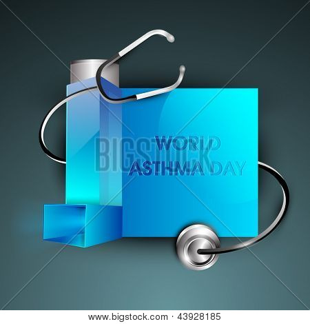 World asthma day background with inhaler and stethoscope.