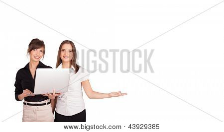 young women presenting white copy space isolated on white