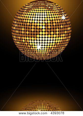 Reflected Gold Disco Ball