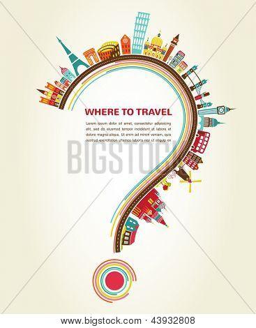 signo de interrogación con los iconos del turismo y elementos, infografía