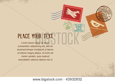 Vintage vector envelope with rubber stamps