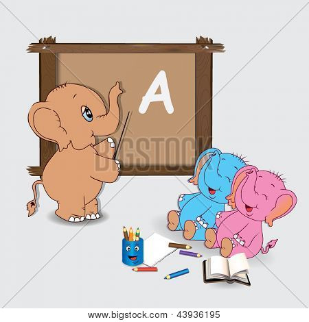 Teacher and cute elephants in the classroom. Vector illustration.
