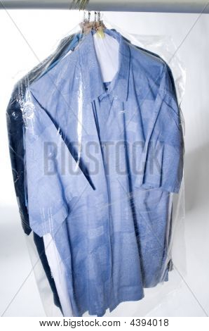 Dry-cleaned Shirts On Hangers.