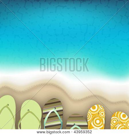 Flip flops at sea side, Summer background.