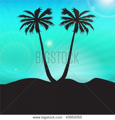 Evening summer background with palm trees.