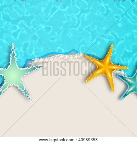 Summer background with shiny starfish at sea side.