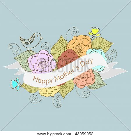 Bunch of flowers and ribbon with text Happy Mothers Day.