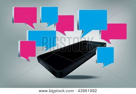 Smarth phone with text bubbles