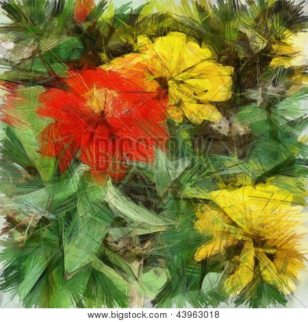 art grunge floral vintage background with georgin, drawing with color pencils