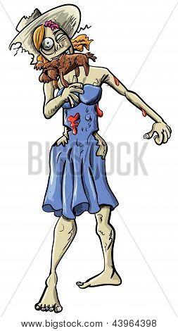 Ghoulish female zombie eating a dog