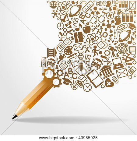 creative splash pencil with school icons set illustration. concept learning. the study of science. his work - eps10 vector file, contain transparent elements and mesh gradients