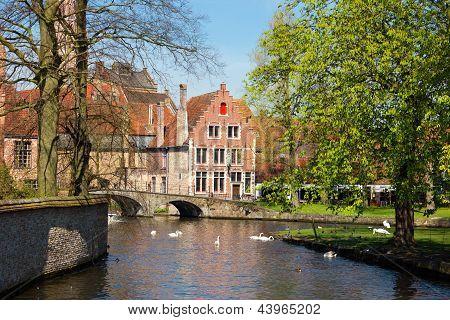 Minnewater In Brugge, Belgium