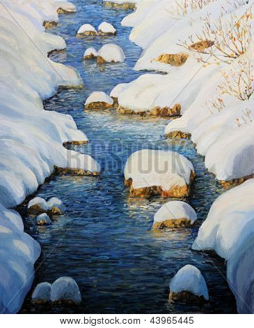 Snowy Fairytale River