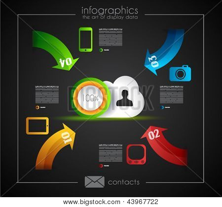 Infographic Template for Cloud computing data rapresentation. Design elements for statistic data display and resourses ranking