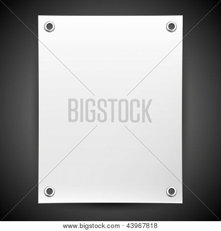 Empty white banner on a black background for placing information. Vector background for design and advertising