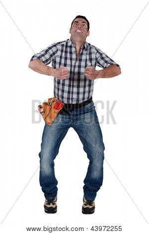 Man gripping an invisible object