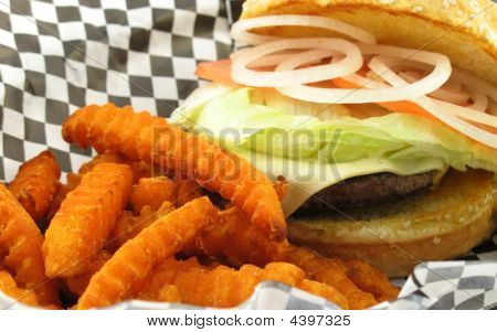 Close Up Of Diner Style Burger
