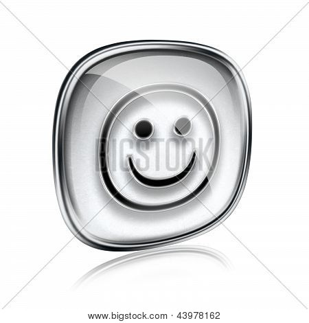 Smiley Icon Grey Glass, Isolated On White Background.