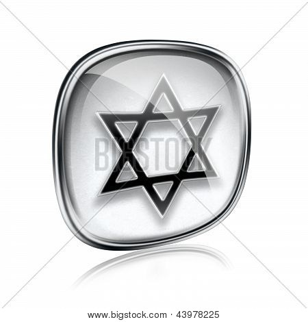 David Star Icon Grey Glass, Isolated On White Background.