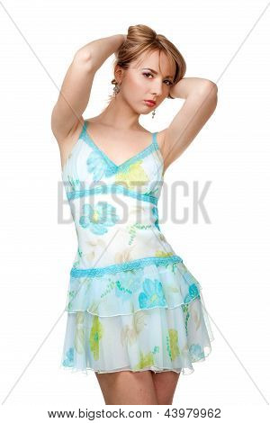 beautiful girl in blue  summer dress over white