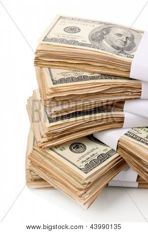Stack of one hundred dollars banknotes close-up isolated on white poster