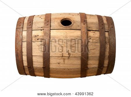 Old Wooden Barrel Isolated