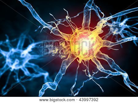 Illustration of a nerve cell on a colored background with light effects