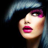 Fashion Brunette Model Portrait. Hairstyle. Haircut. Professional Makeup. False Eyelashes. Purple Make-up poster