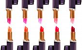 Beautiful lipsticks isolated on white background poster