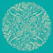 Circle floral ornament ornamental round lace Vector poster