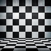 interior of metal grid poster