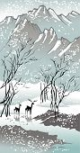 Four seasons: winter hand-drawing picture in Chinese traditional painting style vector illustration poster