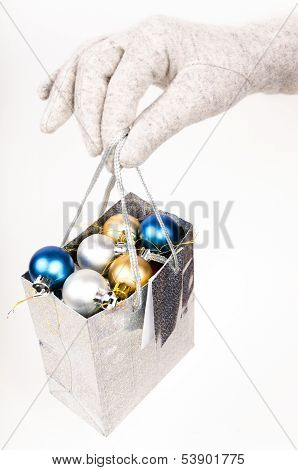 Gift Bag With Christmas Decorations