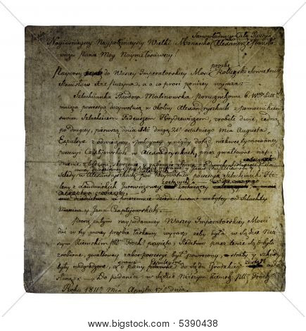 Old letter from 1811 isolated on white background poster
