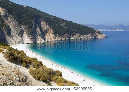 Myrtos Beach In Kefalonia, Greece