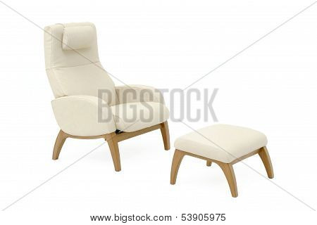 Leather Armchair With Leg Rest