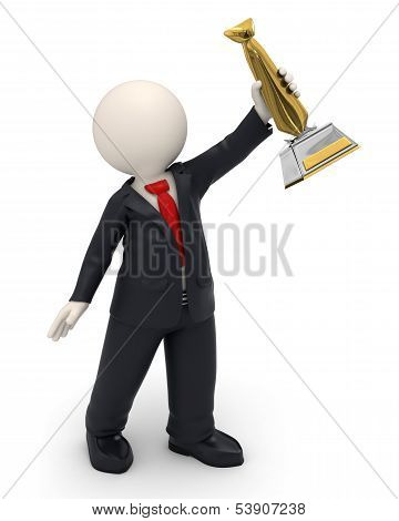 3D Man - Business Victory And Gold Tie Trophy Award