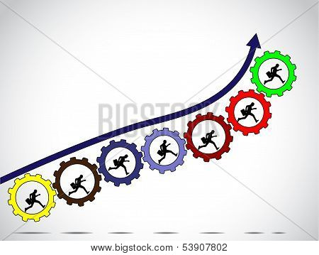 businessmen team work concept for achiving progress with arrow colorful gears and bright white background - concept design vector illustration art poster