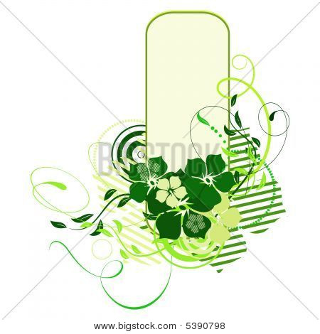 Green Banner With Flowers. Vector Illustration