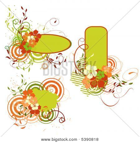 Green And Orange Banner With Flowers. Vector Illustration