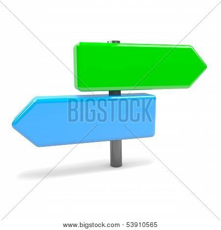 Fork Arrows Road Sign