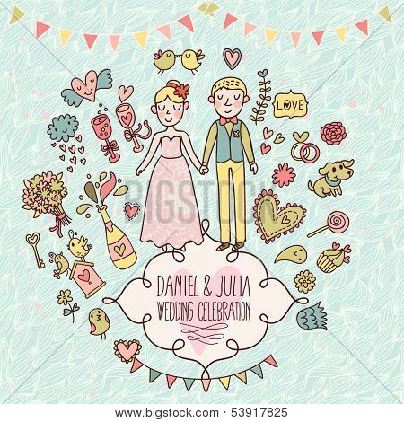 Wedding vector card in vintage style. Cartoon illustration about marriage. Save the date invitation card with bride and groom, cake, hearts, gifts, champagne, flowers and other romantic signs