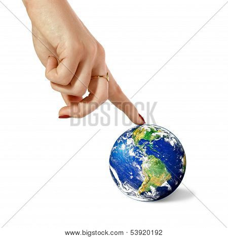 Hand And Planet Earth