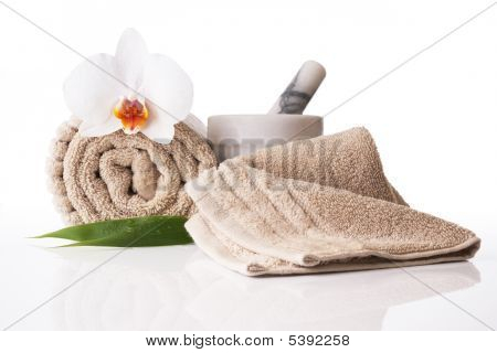 Spa Treatment Towel Orchid Pestle And Mortar