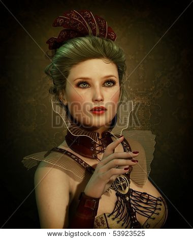 3D computer graphics of a young woman in Steampunk fashion style poster