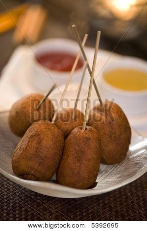 Corndogs With Three Dipping Sauces