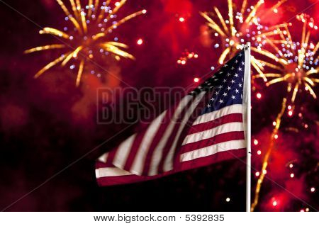 July 4 Flag and fireworks