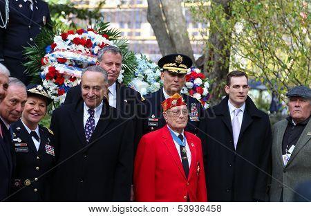 Medal of Honor recipient Herschel Williams (red jacket)